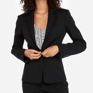 Express Notch Collar One Button Blazer Black